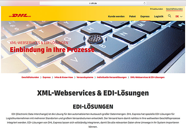Softzoll-EDI/DHL-EDI-Portal