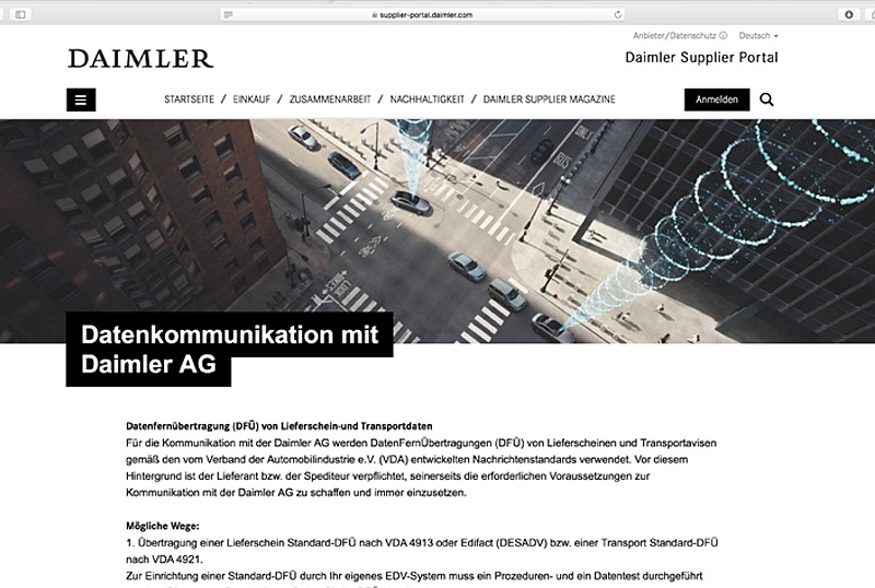Softzoll-EDI/DaimlerSupplierPortall