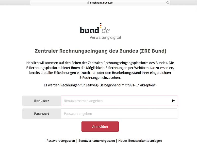Softzoll-Bund-XRechnung-ZRE-Portal